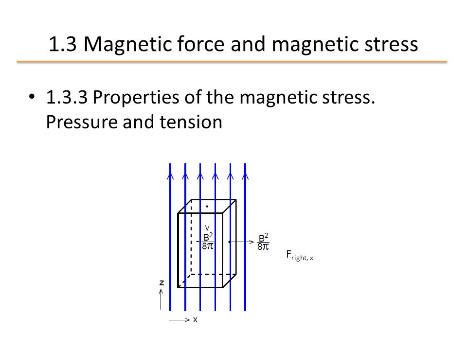 1.3 Magnetic force and magnetic stress 1.3.3 Properties of the magnetic stress.