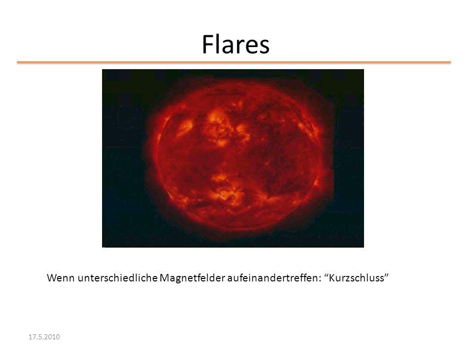 """17.5.2010 Flares Wenn unterschiedliche Magnetfelder aufeinandertreffen: """"Kurzschluss"""""""