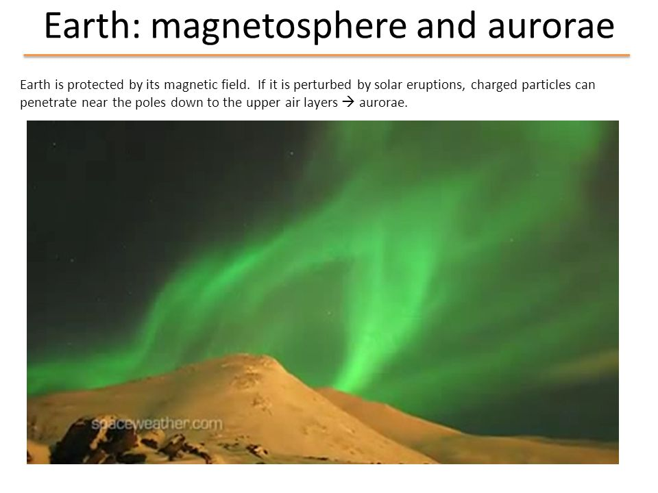 Earth: magnetosphere and aurorae Earth is protected by its magnetic field.