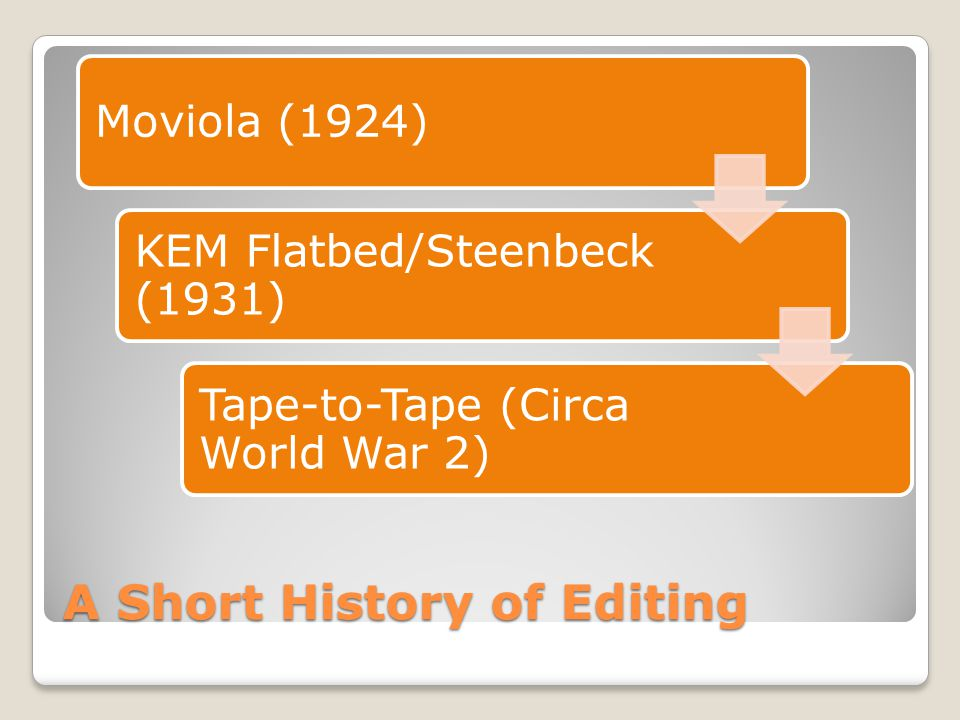 A Short History of Editing Moviola (1924) KEM Flatbed/Steenbeck (1931) Tape-to-Tape (Circa World War 2)