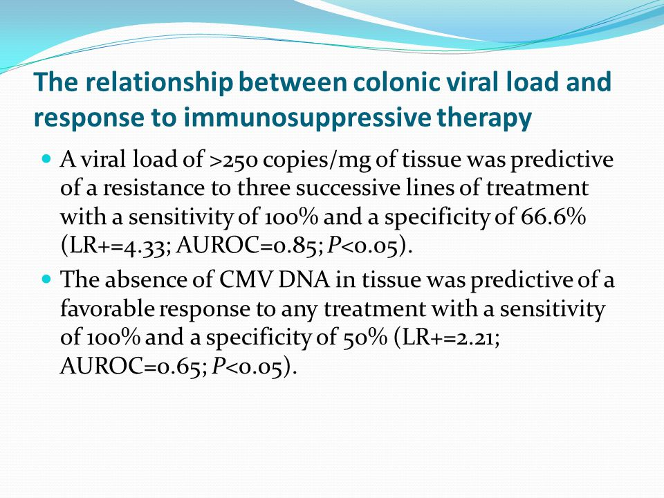The relationship between colonic viral load and response to immunosuppressive therapy A viral load of >250 copies/mg of tissue was predictive of a resistance to three successive lines of treatment with a sensitivity of 100% and a specificity of 66.6% (LR+=4.33; AUROC=0.85; P<0.05).