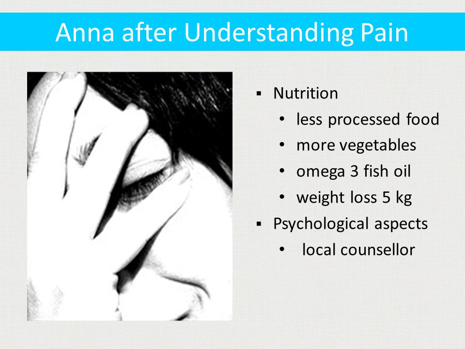  Nutrition less processed food more vegetables omega 3 fish oil weight loss 5 kg  Psychological aspects local counsellor Anna after Understanding Pain