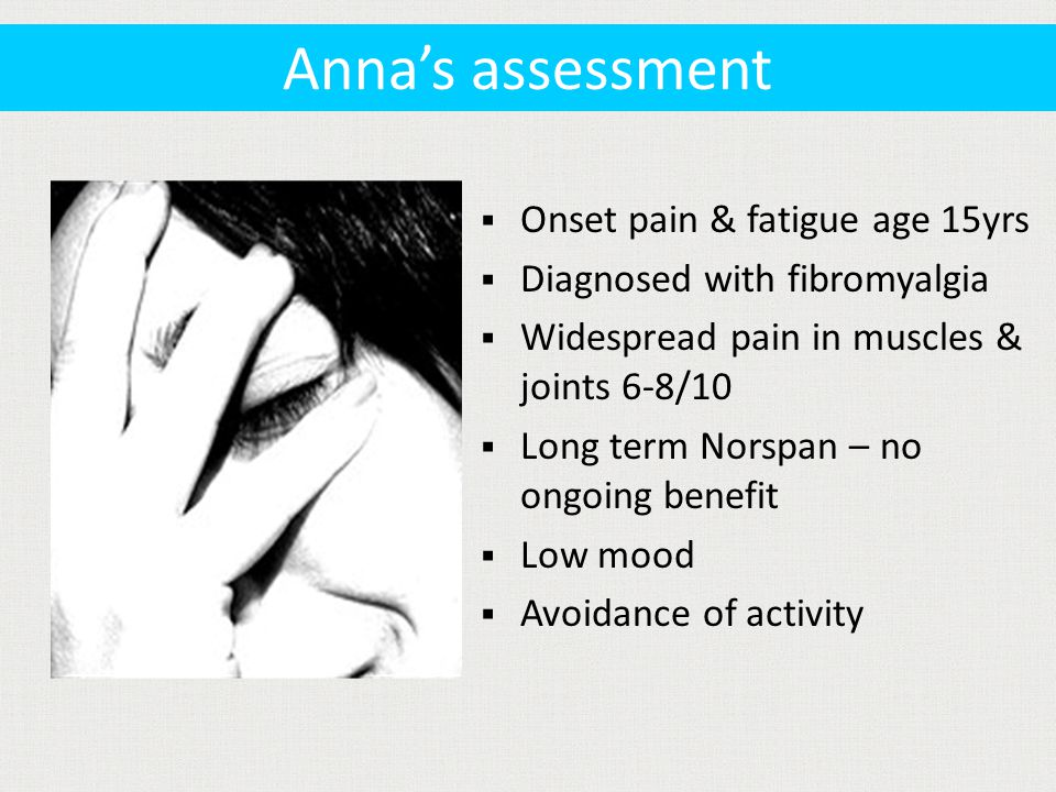  Onset pain & fatigue age 15yrs  Diagnosed with fibromyalgia  Widespread pain in muscles & joints 6-8/10  Long term Norspan – no ongoing benefit  Low mood  Avoidance of activity Anna's assessment