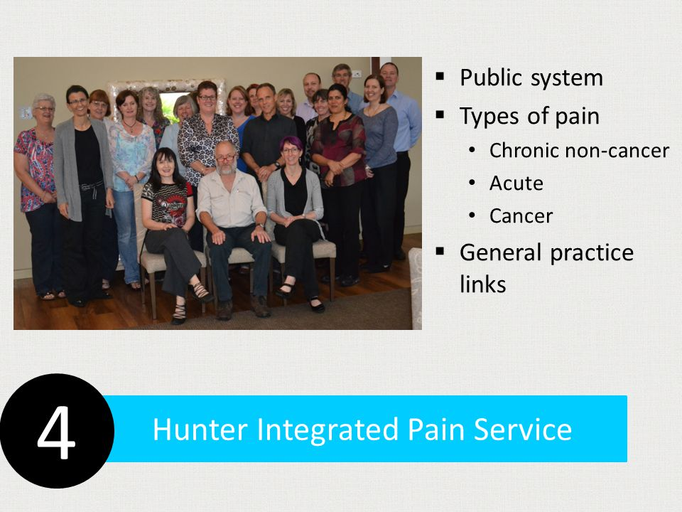 Hunter Integrated Pain Service  Public system  Types of pain Chronic non-cancer Acute Cancer  General practice links 4