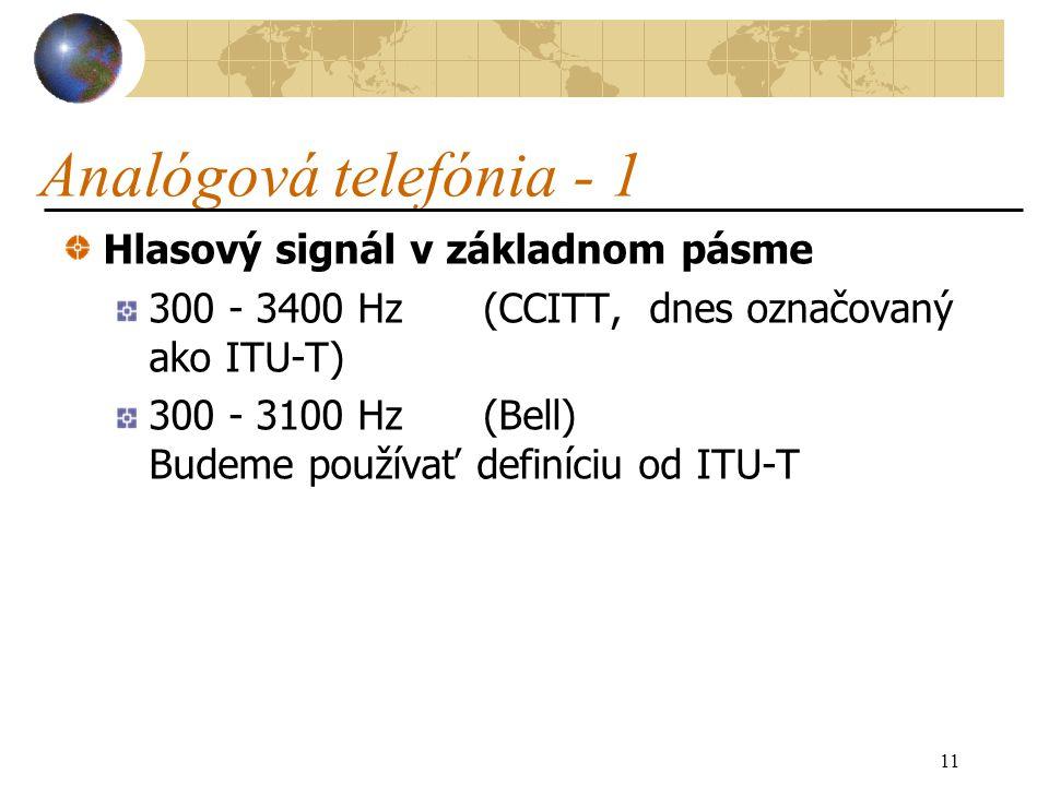 11 Analógová telefónia - 1 Hlasový signál v základnom pásme 300 - 3400 Hz(CCITT, dnes označovaný ako ITU-T) 300 - 3100 Hz(Bell) Budeme používať definíciu od ITU-T