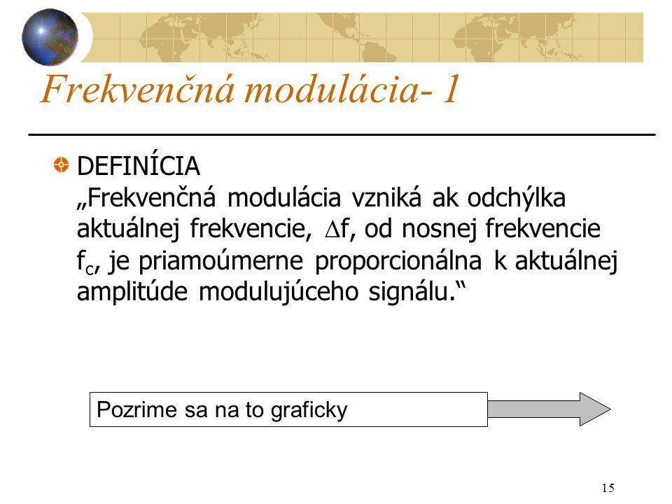 """15 Frekvenčná modulácia- 1 DEFINÍCIA """"Frekvenčná modulácia vzniká ak odchýlka aktuálnej frekvencie,  f, od nosnej frekvencie f c, je priamoúmerne proporcionálna k aktuálnej amplitúde modulujúceho signálu. Pozrime sa na to graficky"""