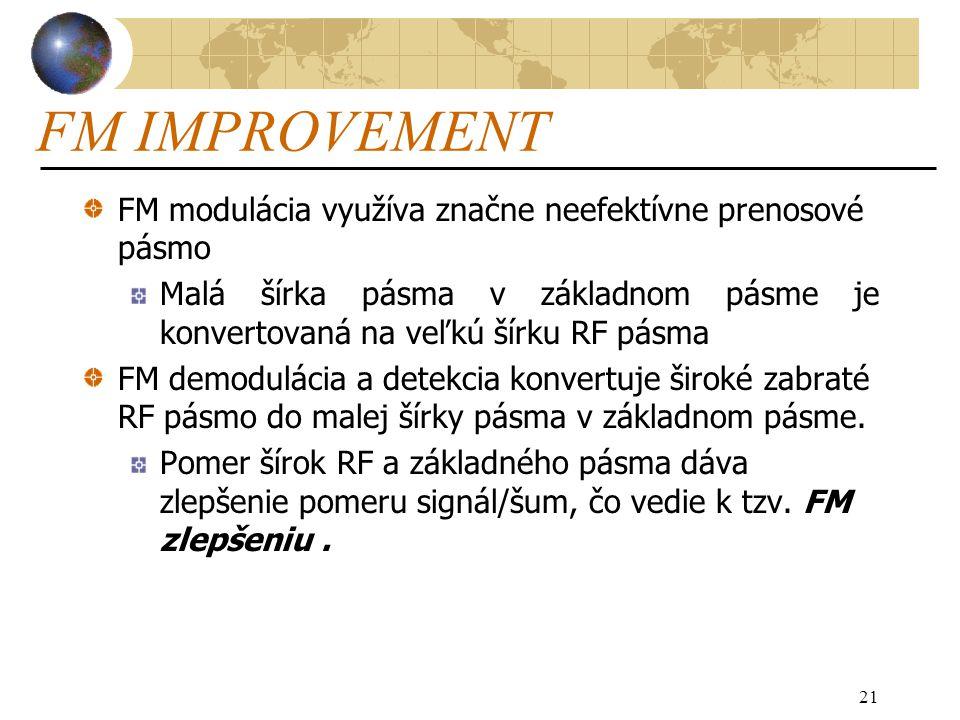 21 FM IMPROVEMENT FM modulácia využíva značne neefektívne prenosové pásmo Malá šírka pásma v základnom pásme je konvertovaná na veľkú šírku RF pásma FM demodulácia a detekcia konvertuje široké zabraté RF pásmo do malej šírky pásma v základnom pásme.
