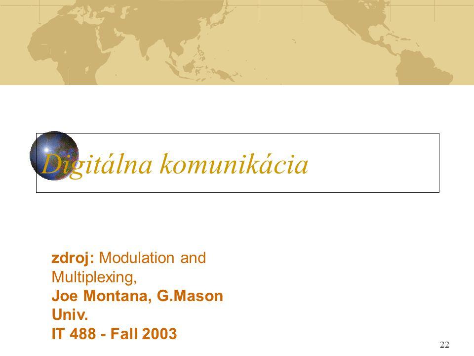 22 Digitálna komunikácia zdroj: Modulation and Multiplexing, Joe Montana, G.Mason Univ.