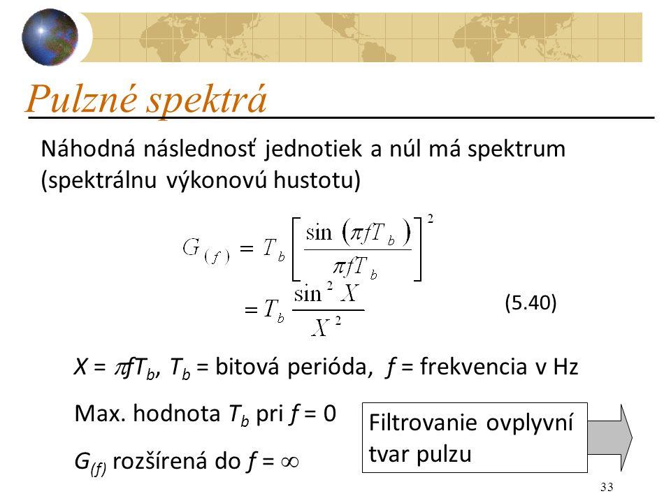 33 Pulzné spektrá Náhodná následnosť jednotiek a núl má spektrum (spektrálnu výkonovú hustotu) (5.40) X =  fT b, T b = bitová perióda, f = frekvencia v Hz Max.