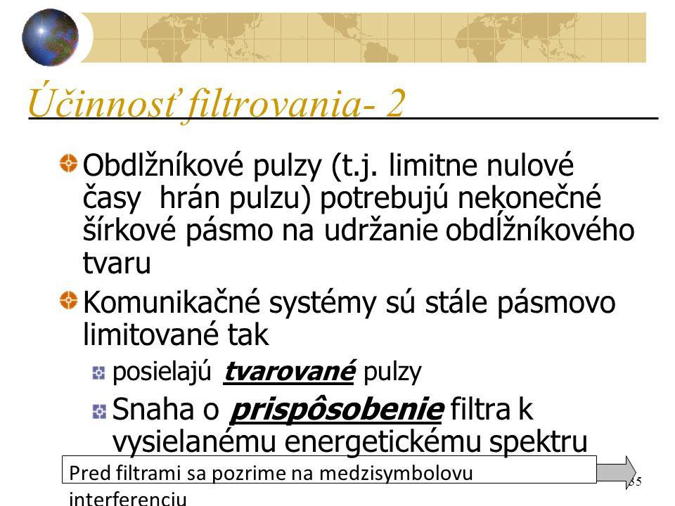 35 Účinnosť filtrovania- 2 Obdlžníkové pulzy (t.j.