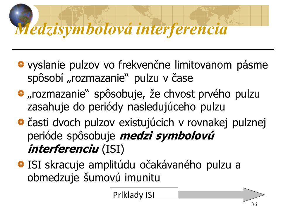 """36 Medzisymbolová interferencia vyslanie pulzov vo frekvenčne limitovanom pásme spôsobí """"rozmazanie pulzu v čase """"rozmazanie spôsobuje, že chvost prvého pulzu zasahuje do periódy nasledujúceho pulzu časti dvoch pulzov existujúcich v rovnakej pulznej perióde spôsobuje medzi symbolovú interferenciu (ISI) ISI skracuje amplitúdu očakávaného pulzu a obmedzuje šumovú imunitu Príklady ISI"""
