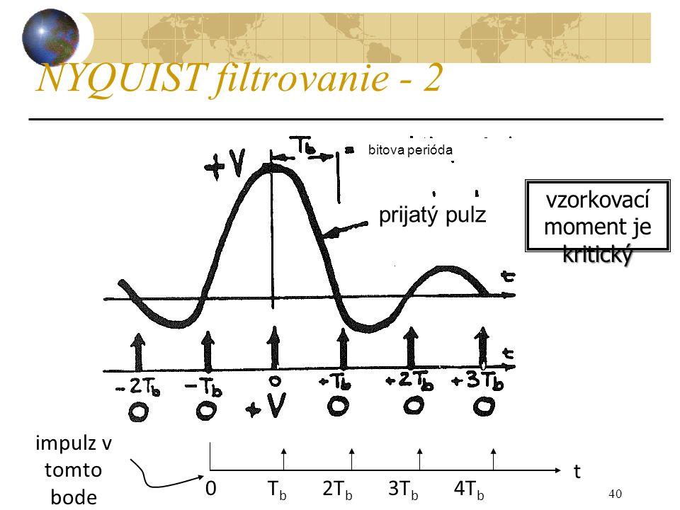 40 NYQUIST filtrovanie - 2 0 T b 2T b 3T b 4T b impulz v tomto bode t kritický vzorkovací moment je kritický bitova perióda prijatý pulz