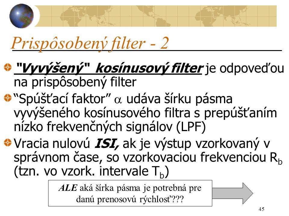 45 Vyvýšený kosínusový filter je odpoveďou na prispôsobený filter Spúšťací faktor  udáva šírku pásma vyvýšeného kosínusového filtra s prepúšťaním nízko frekvenčných signálov (LPF) Vracia nulovú ISI, ak je výstup vzorkovaný v správnom čase, so vzorkovaciou frekvenciou R b (tzn.