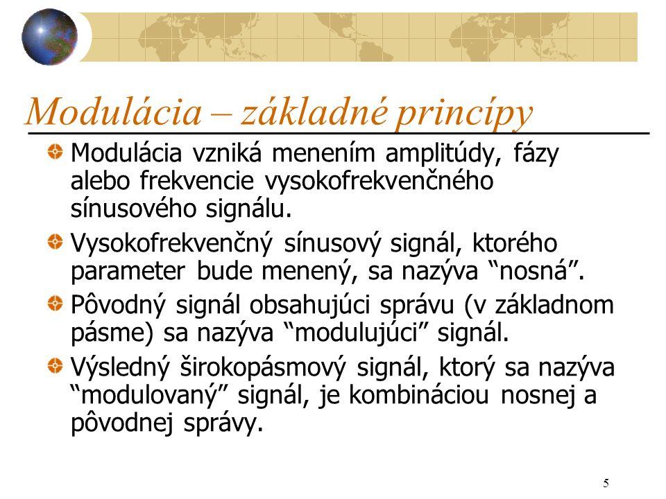 5 Modulácia – základné princípy Modulácia vzniká menením amplitúdy, fázy alebo frekvencie vysokofrekvenčného sínusového signálu.