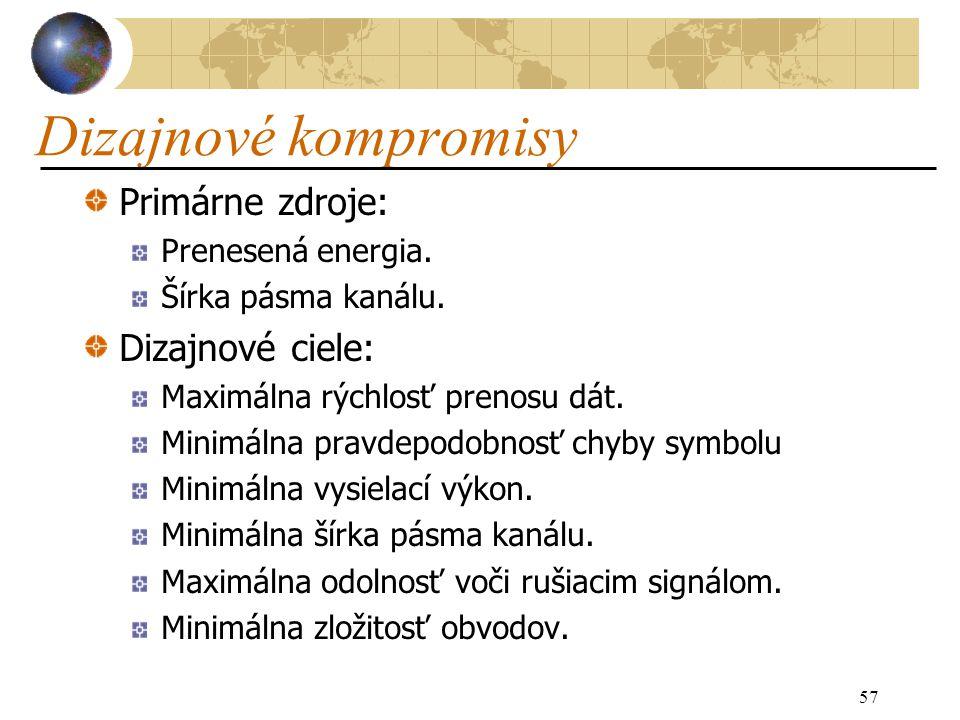 57 Dizajnové kompromisy Primárne zdroje: Prenesená energia.