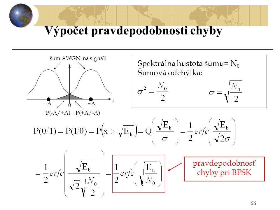66 Spektrálna hustota šumu= N 0 Šumová odchýlka: pravdepodobnosť chyby pri BPSK i -A +A šum AWGN na signáli 0 P(-A/+A) = P(+A/-A) Výpočet pravdepodobnosti chyby