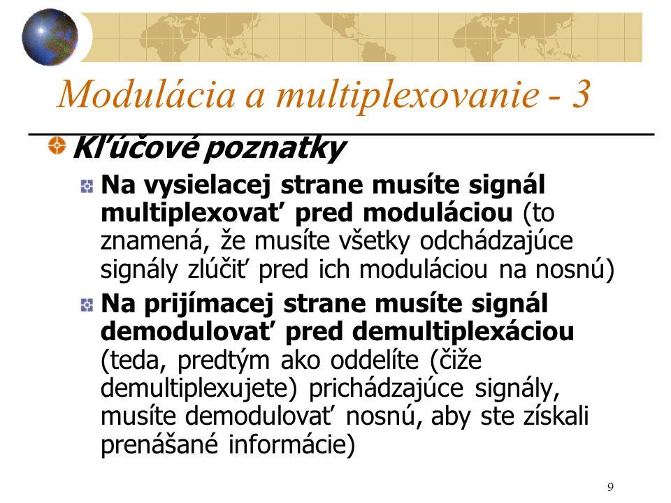 9 Modulácia a multiplexovanie - 3 Kľúčové poznatky Na vysielacej strane musíte signál multiplexovať pred moduláciou (to znamená, že musíte všetky odchádzajúce signály zlúčiť pred ich moduláciou na nosnú) Na prijímacej strane musíte signál demodulovať pred demultiplexáciou (teda, predtým ako oddelíte (čiže demultiplexujete) prichádzajúce signály, musíte demodulovať nosnú, aby ste získali prenášané informácie)