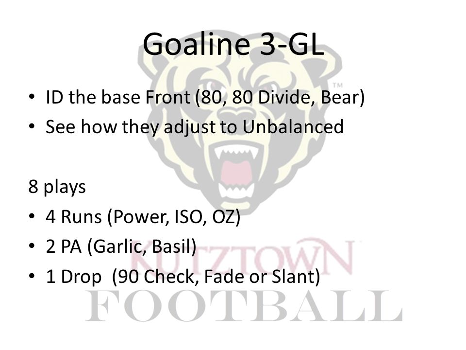 Goaline 3-GL ID the base Front (80, 80 Divide, Bear) See how they adjust to Unbalanced 8 plays 4 Runs (Power, ISO, OZ) 2 PA (Garlic, Basil) 1 Drop (90 Check, Fade or Slant)