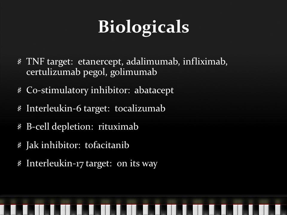 Biologicals TNF target: etanercept, adalimumab, infliximab, certulizumab pegol, golimumab Co-stimulatory inhibitor: abatacept Interleukin-6 target: tocalizumab B-cell depletion: rituximab Jak inhibitor: tofacitanib Interleukin-17 target: on its way