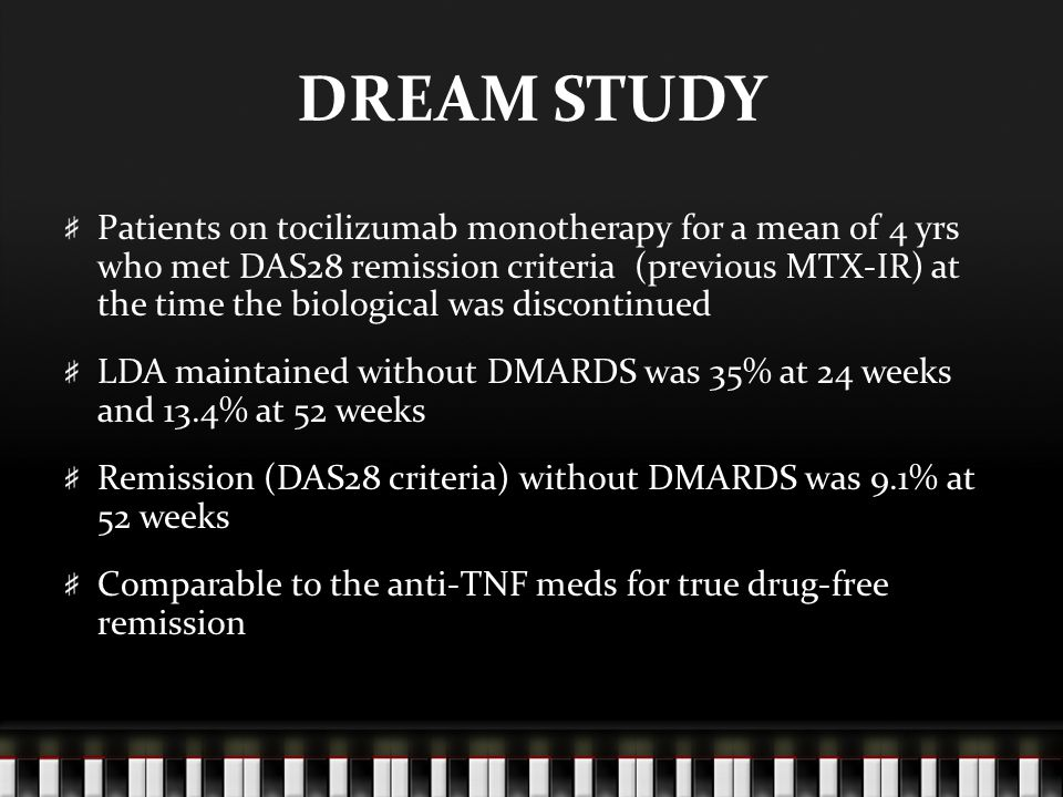 DREAM STUDY Patients on tocilizumab monotherapy for a mean of 4 yrs who met DAS28 remission criteria (previous MTX-IR) at the time the biological was discontinued LDA maintained without DMARDS was 35% at 24 weeks and 13.4% at 52 weeks Remission (DAS28 criteria) without DMARDS was 9.1% at 52 weeks Comparable to the anti-TNF meds for true drug-free remission
