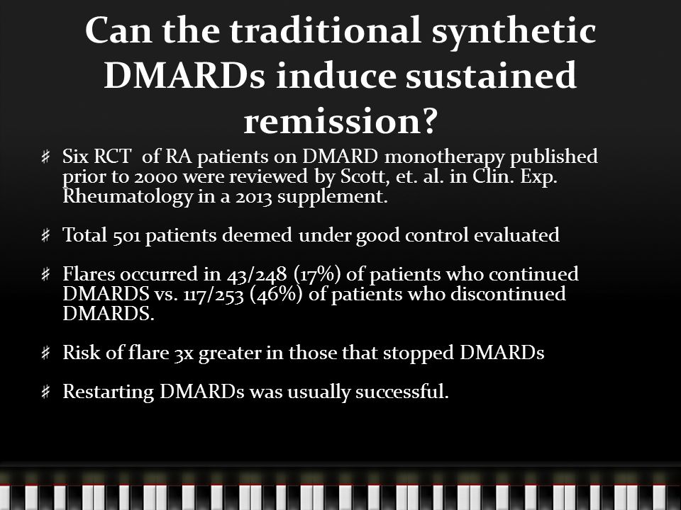 Can the traditional synthetic DMARDs induce sustained remission.