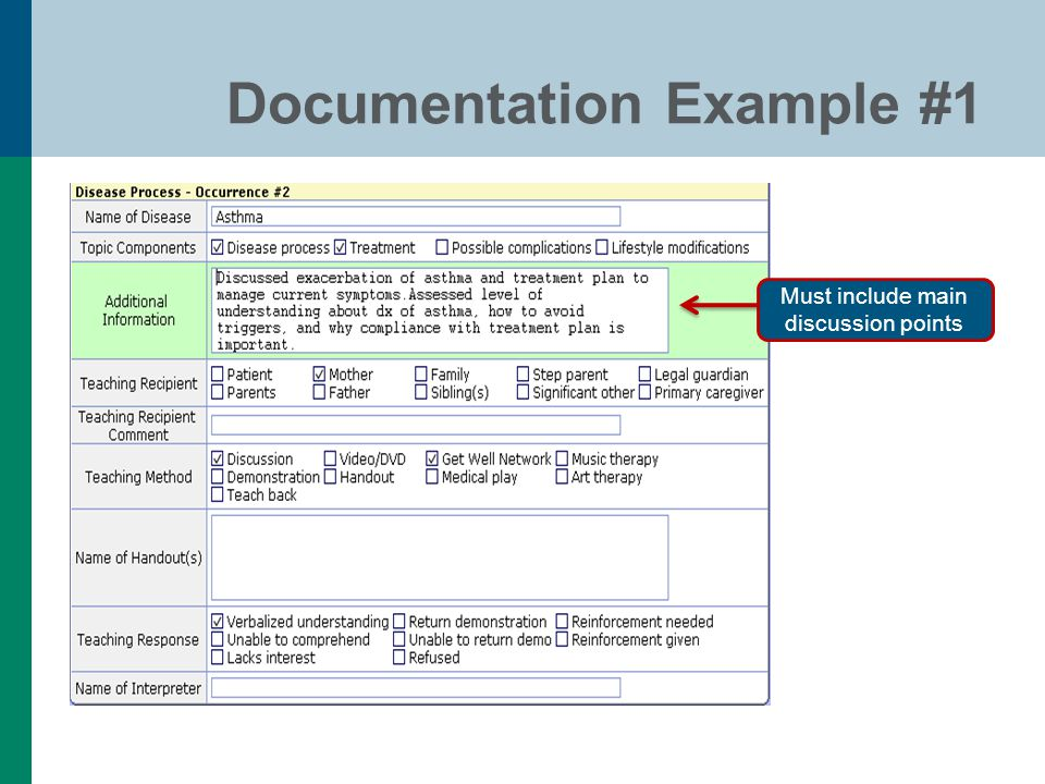 Documentation Example #1 Must include main discussion points