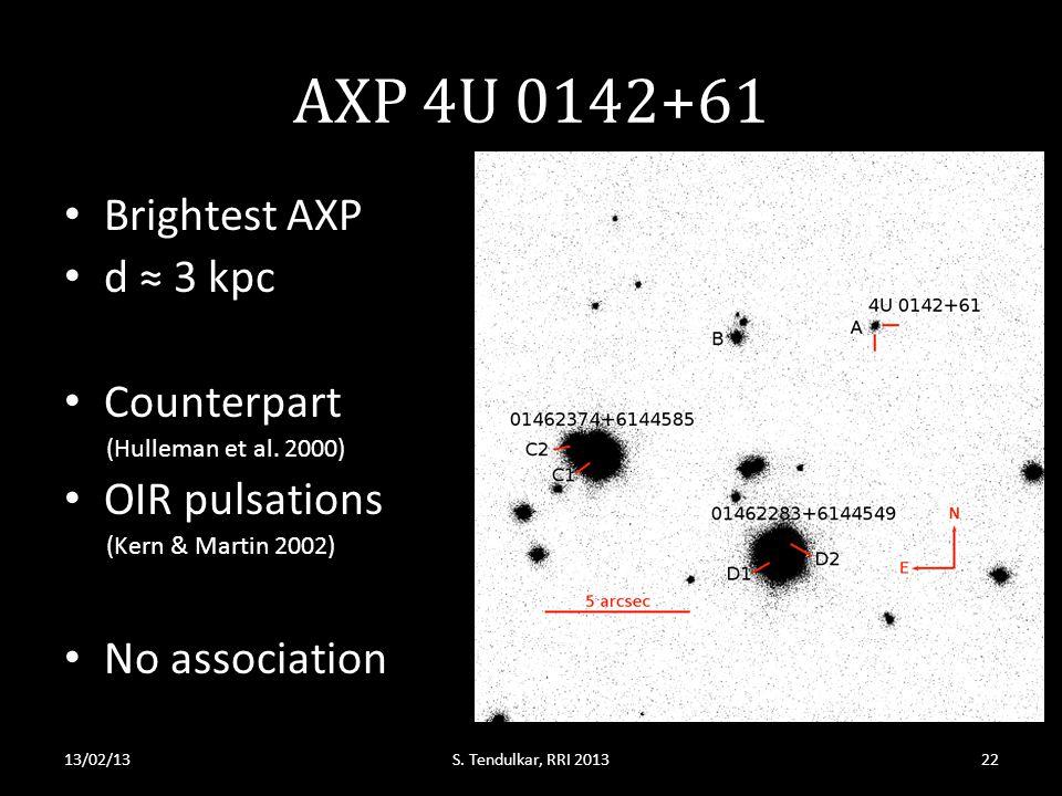 AXP 4U 0142+61 Brightest AXP d ≈ 3 kpc Counterpart (Hulleman et al.