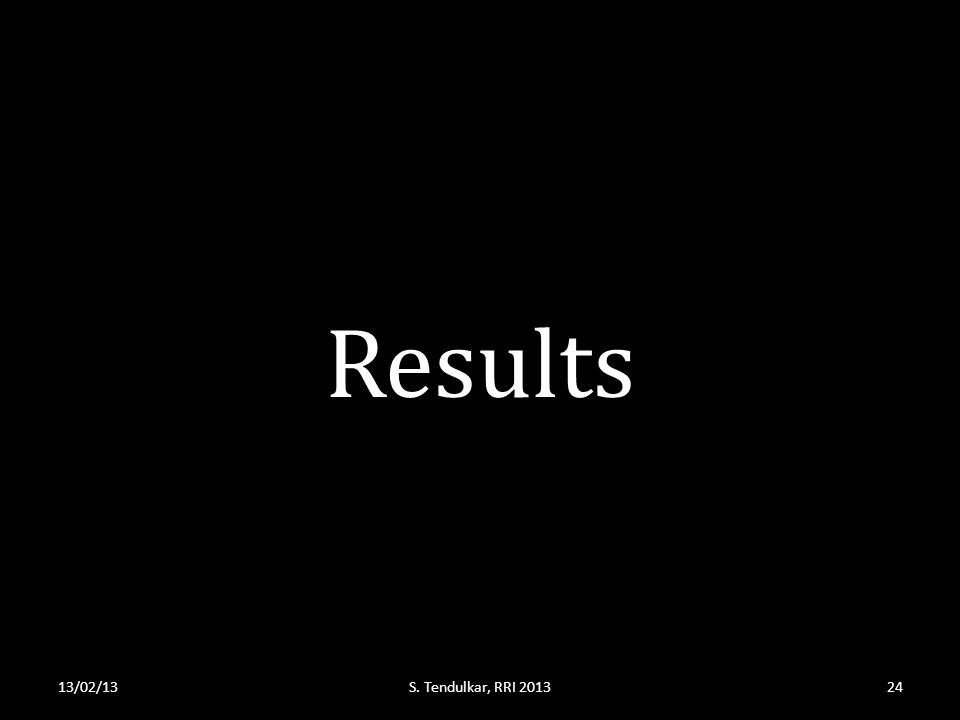 Results 13/02/13S. Tendulkar, RRI 201324