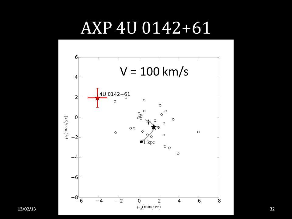AXP 4U 0142+61 13/02/13S. Tendulkar, RRI 2013 V = 100 km/s 32