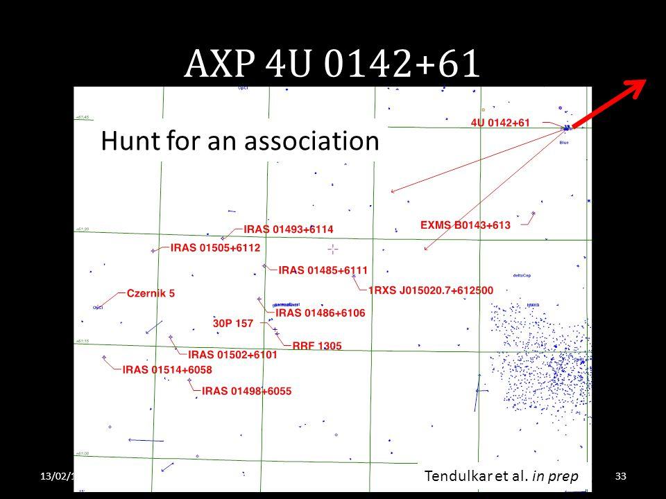 AXP 4U 0142+61 13/02/13S. Tendulkar, RRI 2013 Hunt for an association Tendulkar et al. in prep 33