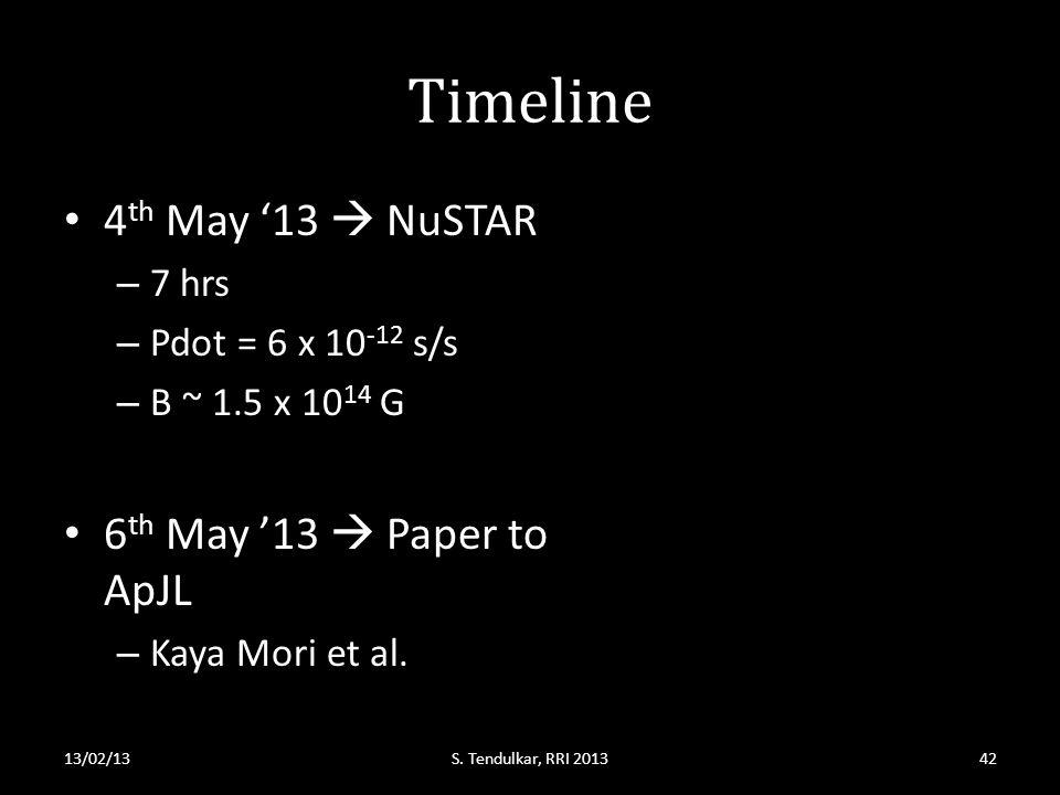 Timeline 4 th May '13  NuSTAR – 7 hrs – Pdot = 6 x 10 -12 s/s – B ~ 1.5 x 10 14 G 6 th May '13  Paper to ApJL – Kaya Mori et al.