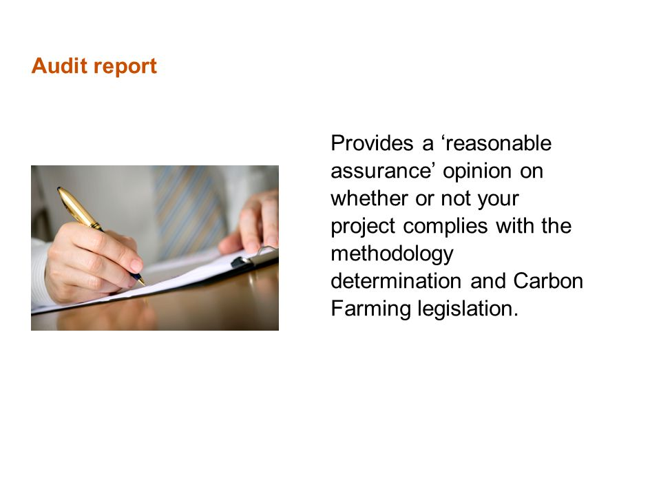 Audit report Provides a 'reasonable assurance' opinion on whether or not your project complies with the methodology determination and Carbon Farming legislation.