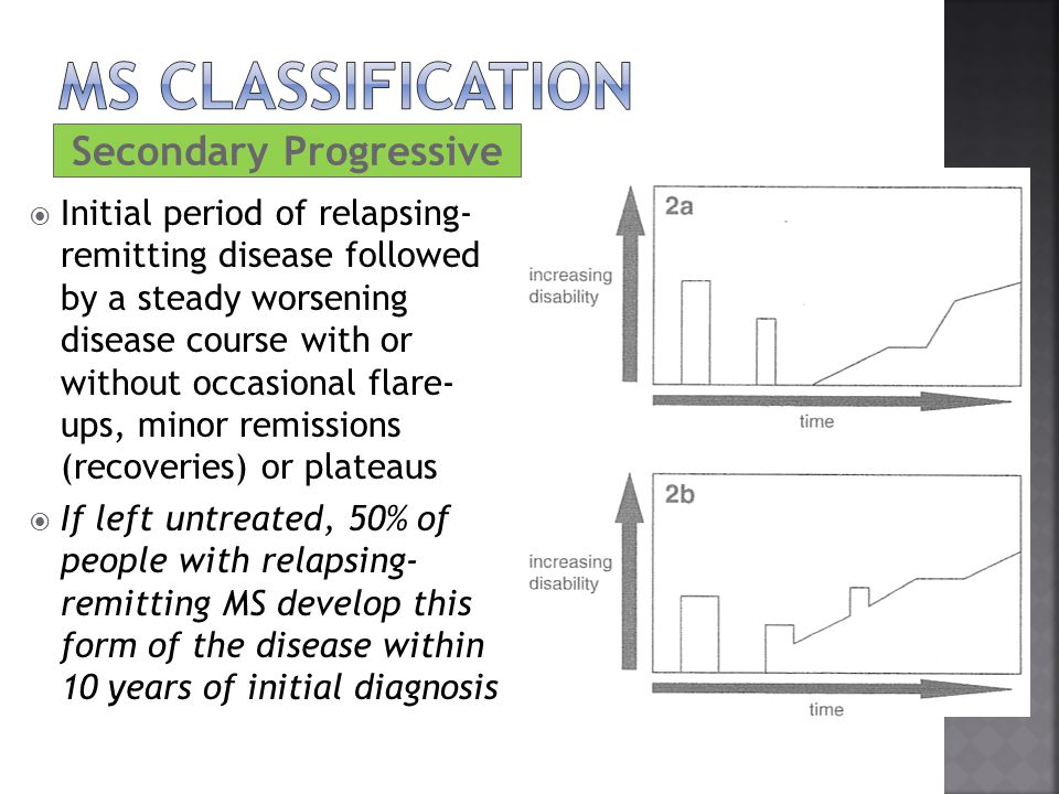 Secondary Progressive  Initial period of relapsing- remitting disease followed by a steady worsening disease course with or without occasional flare-