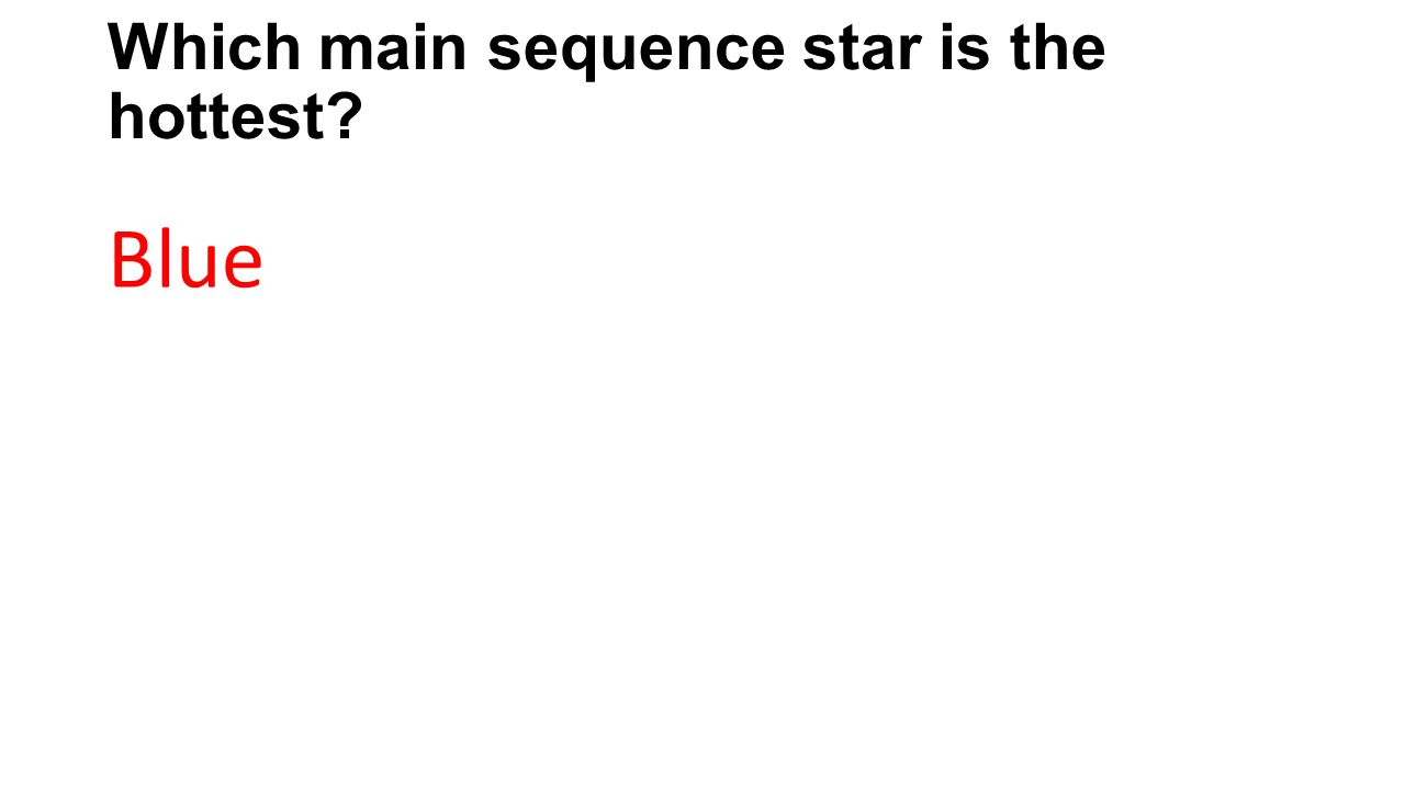 Which main sequence star is the hottest? Blue