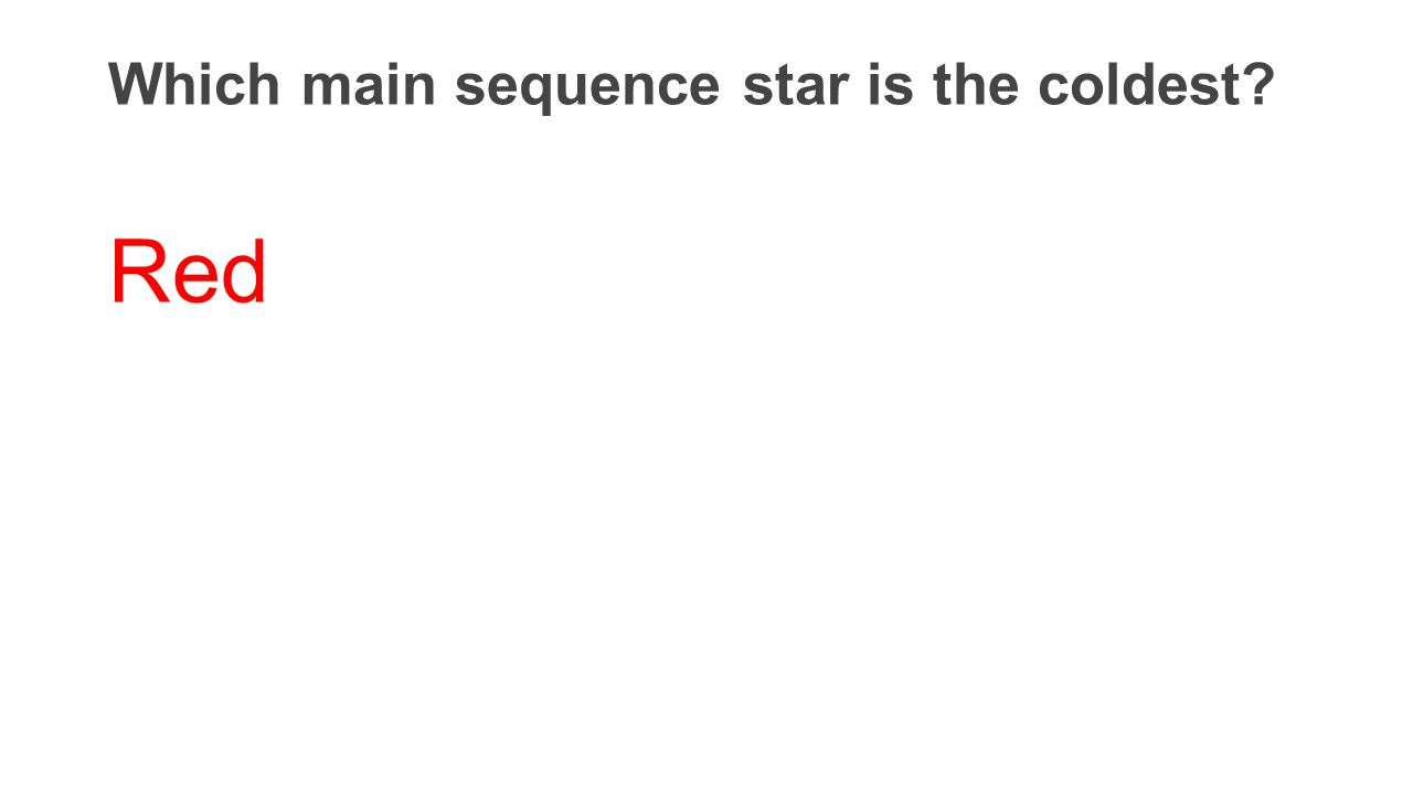Which main sequence star is the coldest? Red
