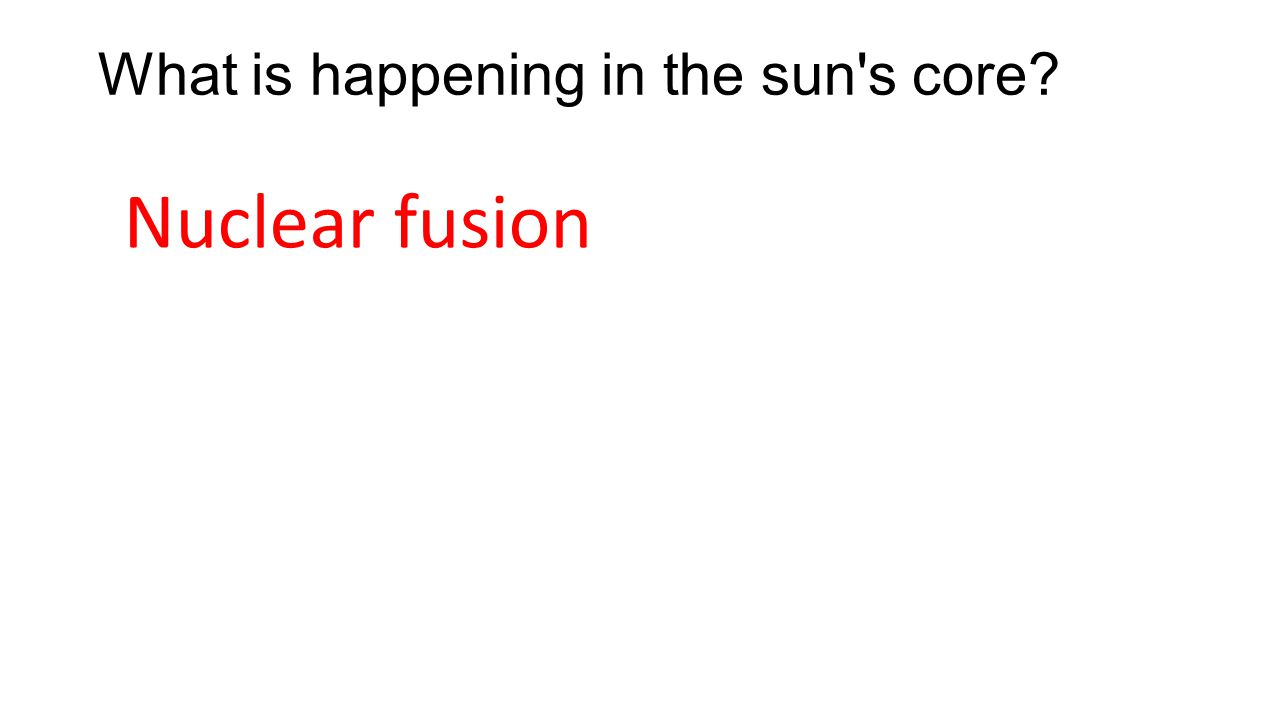 What is happening in the sun's core? Nuclear fusion