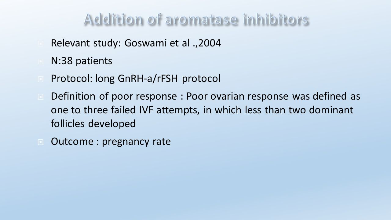  Relevant study: Goswami et al.,2004  N:38 patients  Protocol: long GnRH-a/rFSH protocol  Definition of poor response : Poor ovarian response was