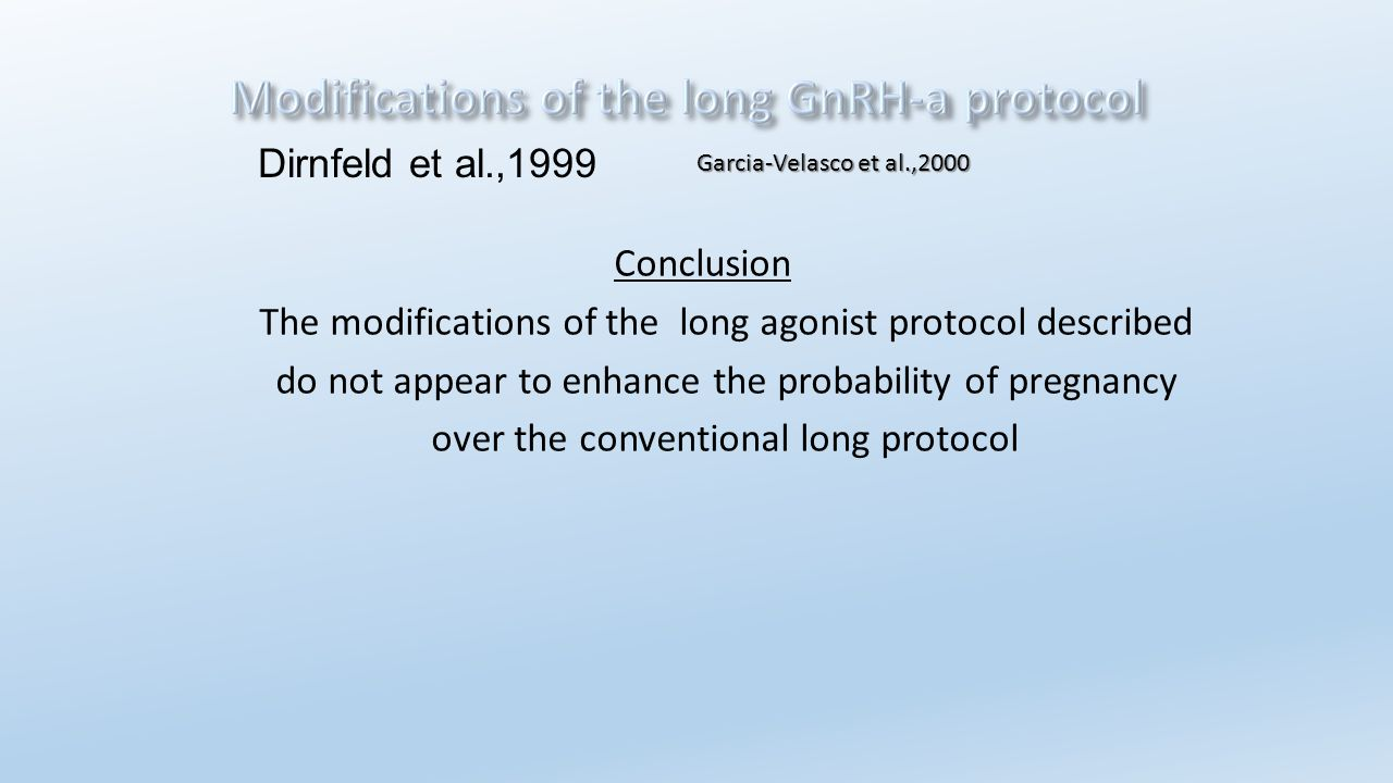 Conclusion The modifications of the long agonist protocol described do not appear to enhance the probability of pregnancy over the conventional long p