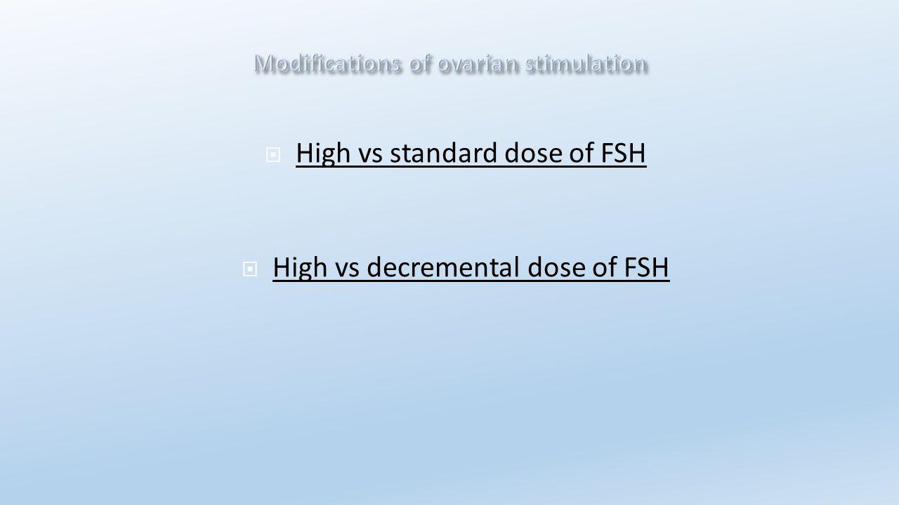  High vs standard dose of FSH  High vs decremental dose of FSH