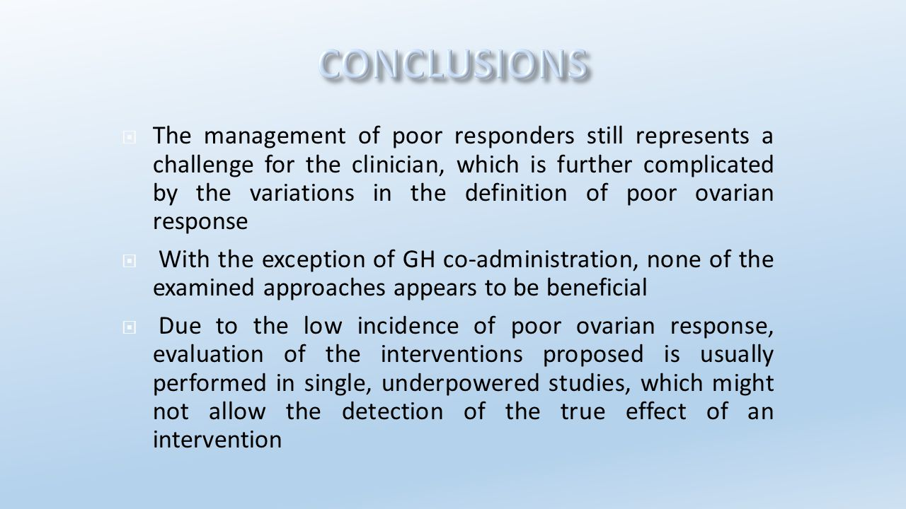  The management of poor responders still represents a challenge for the clinician, which is further complicated by the variations in the definition o