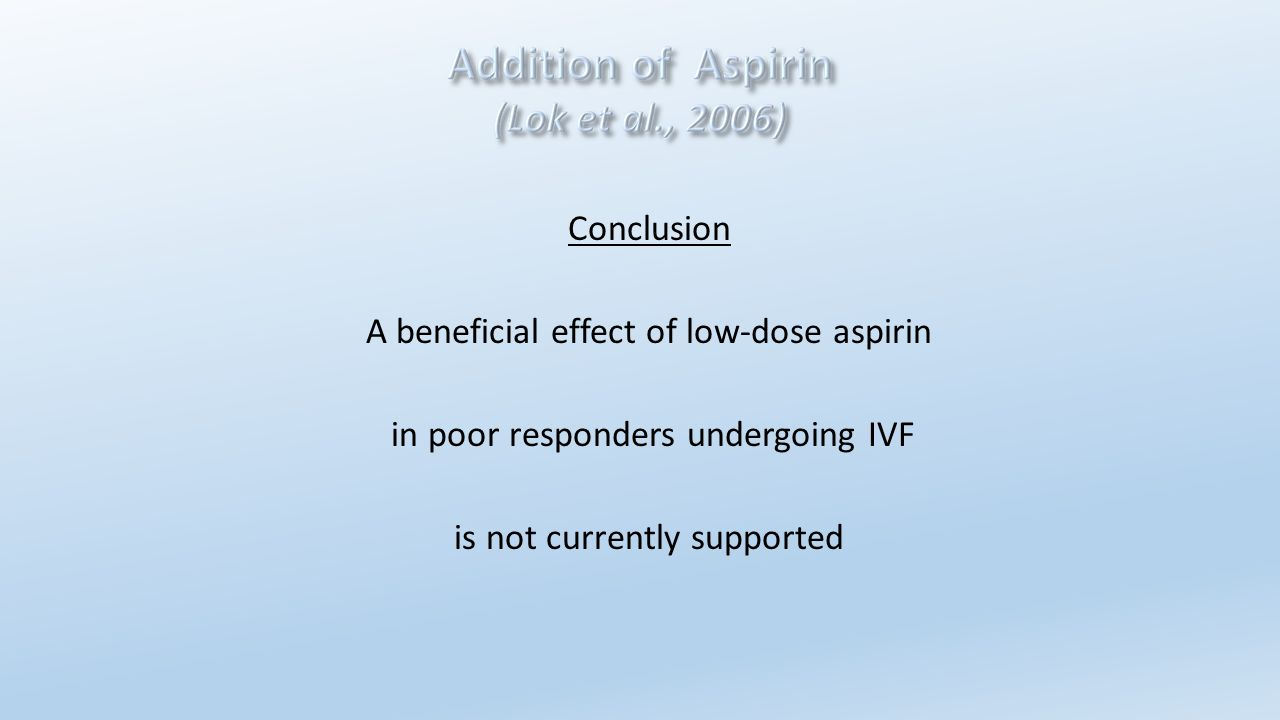 Conclusion A beneficial effect of low-dose aspirin in poor responders undergoing IVF is not currently supported