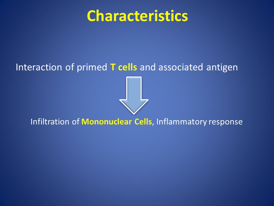Characteristics Interaction of primed T cells and associated antigen Infiltration of Mononuclear Cells, Inflammatory response