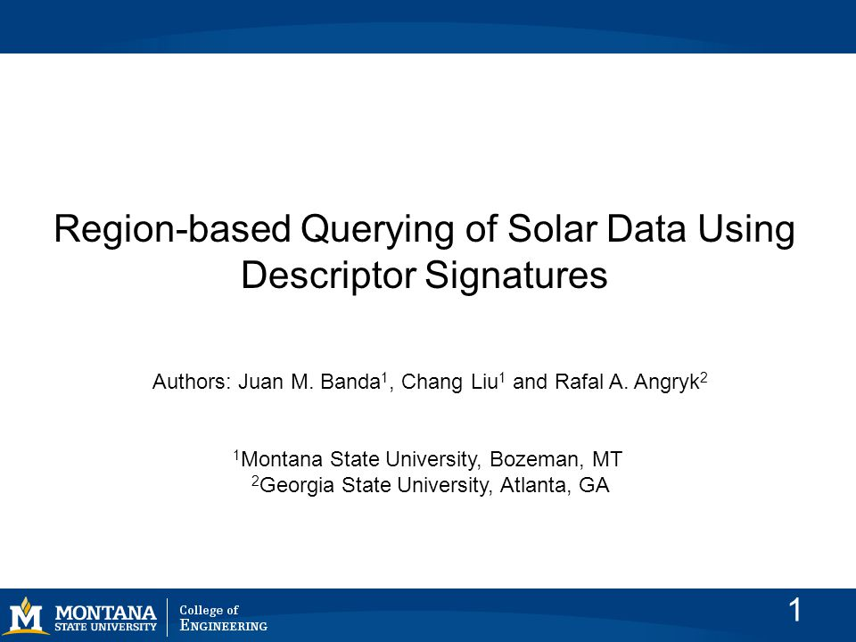 Introduction In this work, we present our first results of our experiments to prove region-based querying capabilities to our existing Solar Dynamics Observatory (SDO) content-based image- retrieval (CBIR) system 2