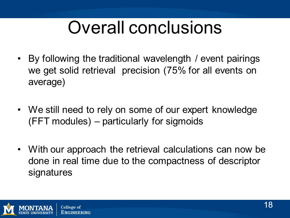 Overall conclusions By following the traditional wavelength / event pairings we get solid retrieval precision (75% for all events on average) We still need to rely on some of our expert knowledge (FFT modules) – particularly for sigmoids With our approach the retrieval calculations can now be done in real time due to the compactness of descriptor signatures 18