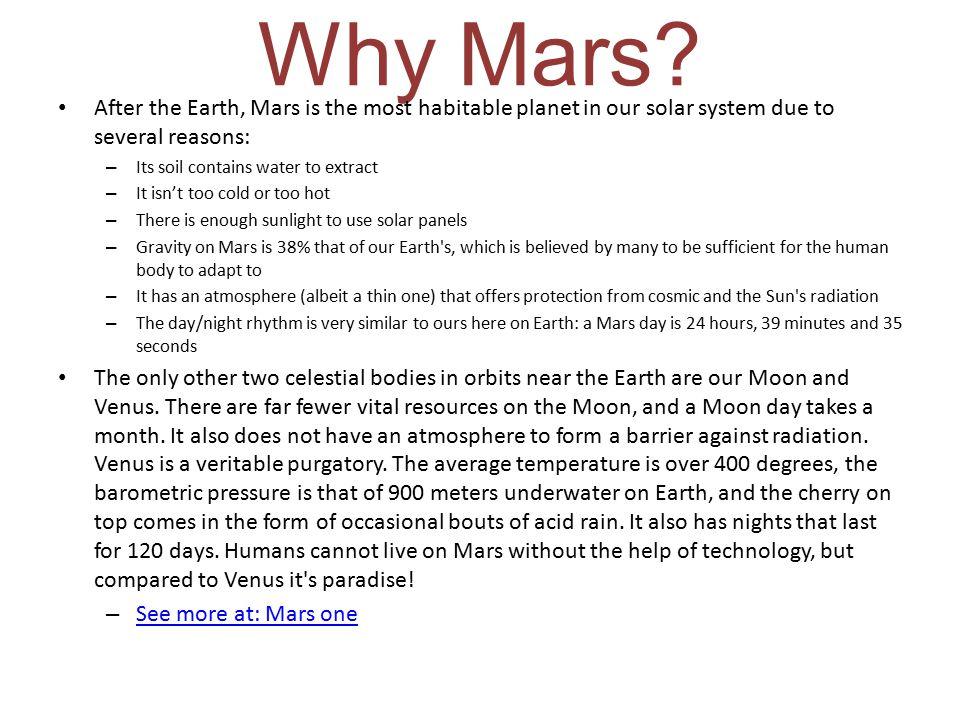 Why Mars.