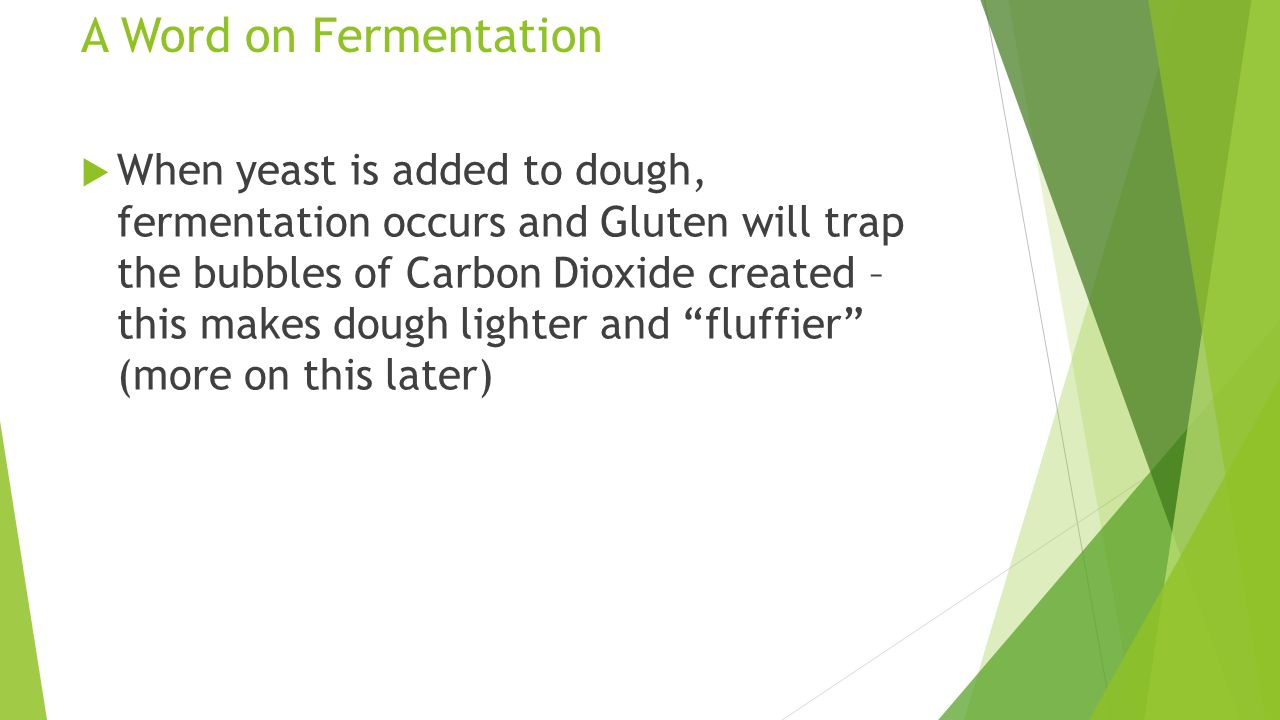A Word on Fermentation  When yeast is added to dough, fermentation occurs and Gluten will trap the bubbles of Carbon Dioxide created – this makes dou