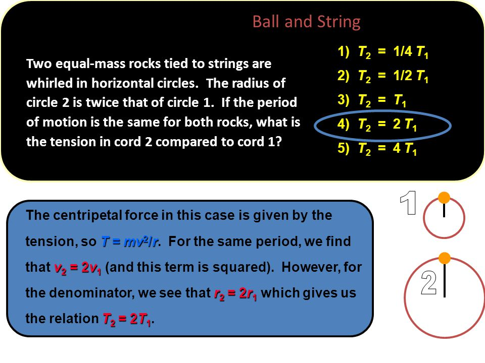 T = mv 2 /r v 2 = 2v 1 r 2 = 2r 1 T 2 = 2T 1 The centripetal force in this case is given by the tension, so T = mv 2 /r.