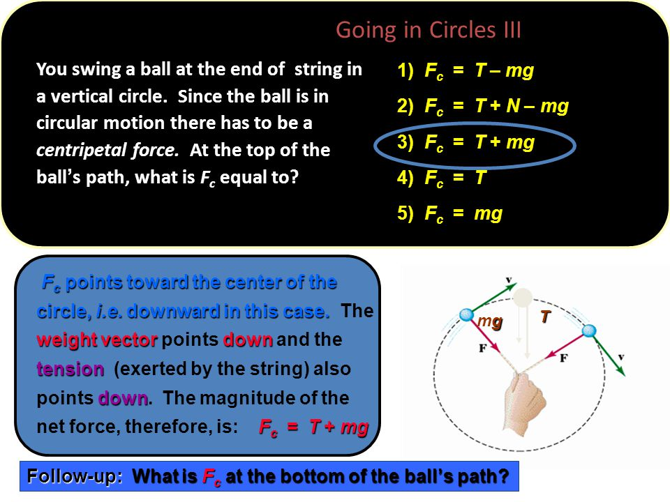 R v T gmggmg You swing a ball at the end of string in a vertical circle.