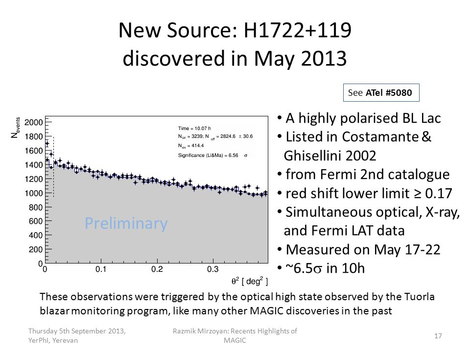 New Source: H1722+119 discovered in May 2013 Thursday 5th September 2013, YerPhI, Yerevan Razmik Mirzoyan: Recents Highlights of MAGIC 17 A highly polarised BL Lac Listed in Costamante & Ghisellini 2002 from Fermi 2nd catalogue red shift lower limit ≥ 0.17 Simultaneous optical, X-ray, and Fermi LAT data Measured on May 17-22 ~6.5  in 10h See ATel #5080 These observations were triggered by the optical high state observed by the Tuorla blazar monitoring program, like many other MAGIC discoveries in the past Preliminary