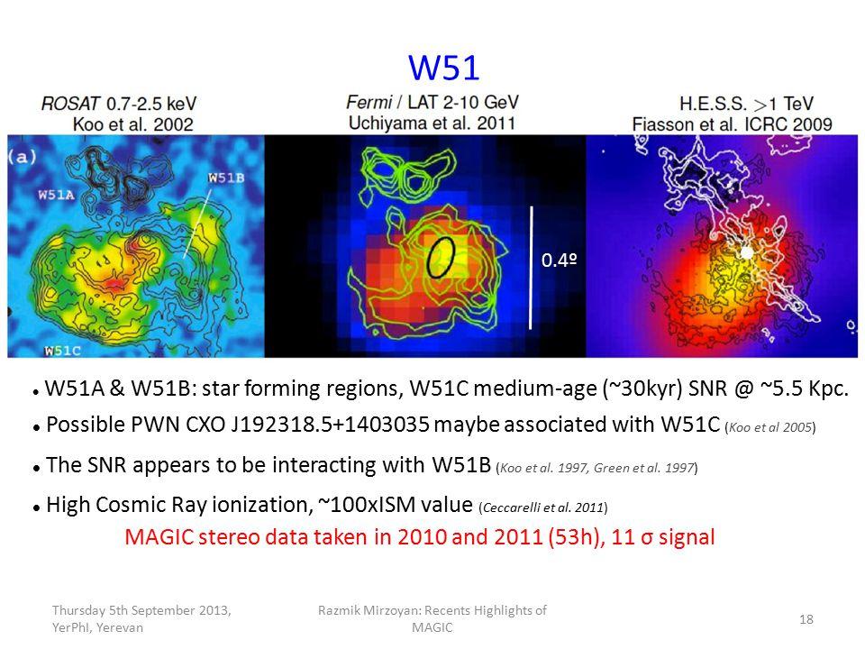 W51 W51A & W51B: star forming regions, W51C medium-age (~30kyr) SNR @ ~5.5 Kpc. Possible PWN CXO J192318.5+1403035 maybe associated with W51C (Koo et